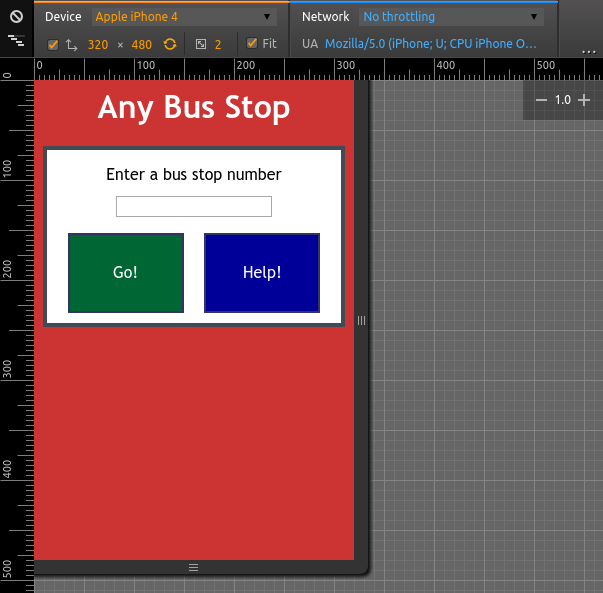 Any bus Stop on Chrome's iPhone 4 simulated display size
