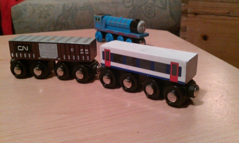 BigJigs Wagon, unmodifed and modified. With Gordon for scale!