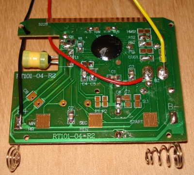 Back of the timer circuit board showing extra wires